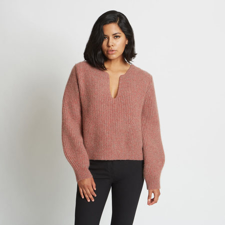 Santicler KAYA NOTCHED RIBBED PURE CASHMERE SWEATER - Red Agate