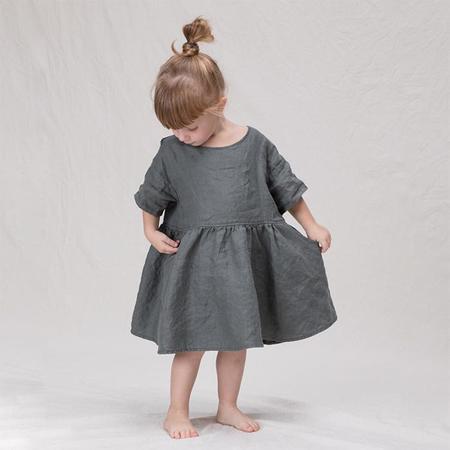 kids Album Di Famiglia Child Dana Linen Dress - Black