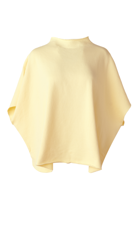 Frank & Eileen Funnel Neck Capelet top - Canary Yellow
