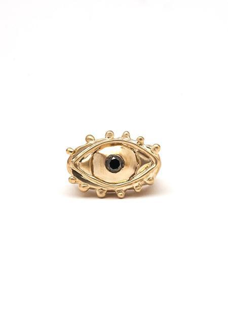 Sadé Brass and Onyx Mati Ring