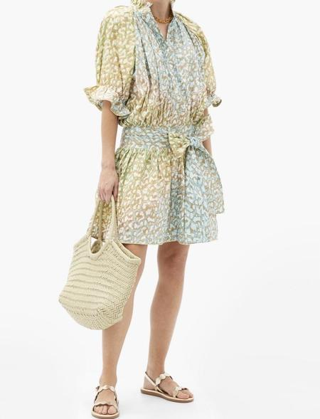 Juliet Dunn Tie Dye Blouson Dress - Turq Green