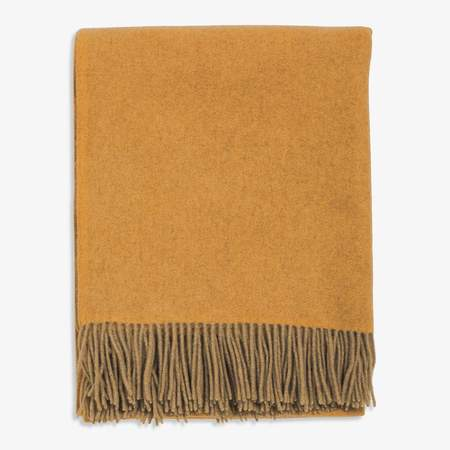 Oyuna Uno Classic Fringed Two-Tone Cashmere Throw - Gold/Taupe