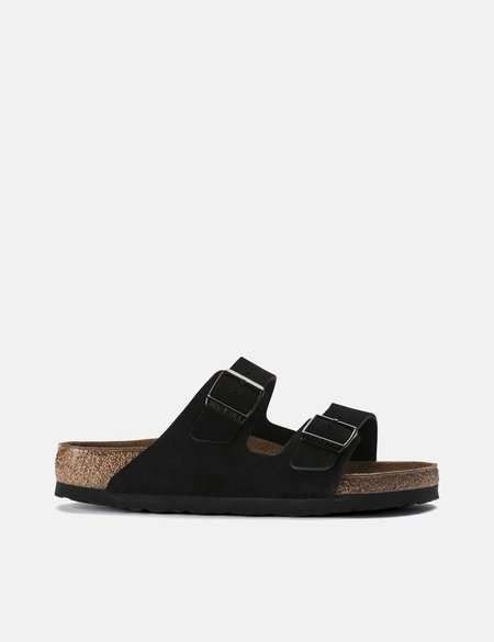 Birkenstock Arizona Suede Leather Regular Soft Footbed sandals - Black