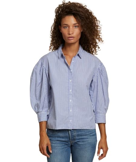 Nation Ltd Odessa Balloon Sleeve Resort shirt - Banker Stripe