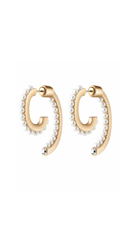 Demarson Pearl Luna Earrings - 12k gold plating
