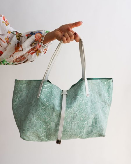 [Pre-loved] Tiffany & Co. Reversible Tote Bag - Mint Blue/Green