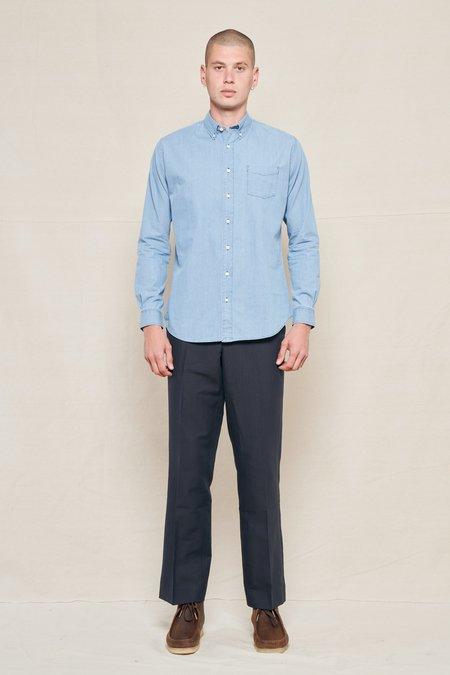 Schnayderman's Tailored Cotton Linen Wide Trouser - DARK NAVY