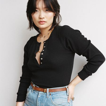 Kindred Black The Henley Long Sleeve top - Black Waffle