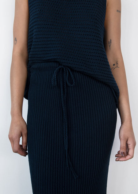 Wol Hide Rib Skirt - Navy