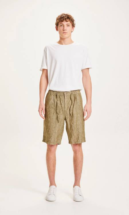 knowledge cotton apparel Fig loose linen shorts - forrest night