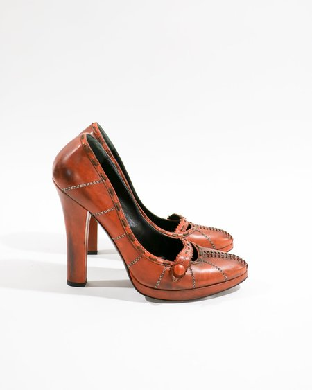 Pre-loved Bottega Veneta Distressed Pumps - Burnt Orange