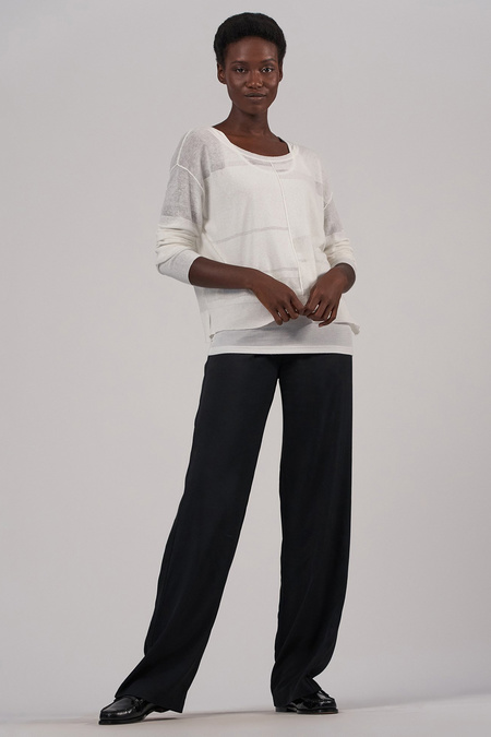ATM Linen Gauze Sweater - Chalk