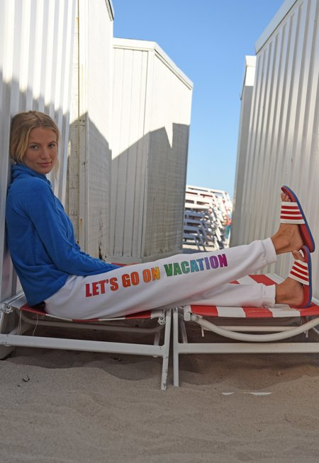 Warm Let's Go On Vacation Sweatpants - White/Rainbow Graphic