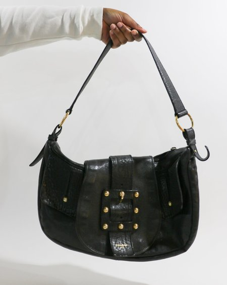 Vintage Yves Saint Laurent The Saharienne Buckle Shoulder Bag - Black