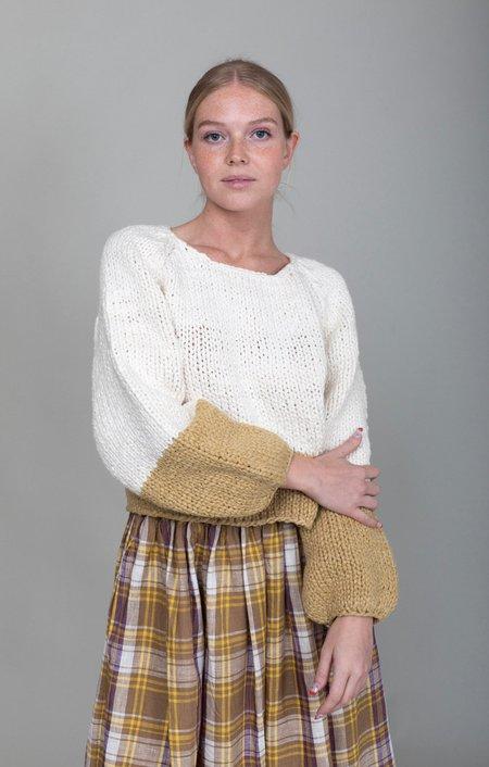Apiece Apart Hand Knit Oversized Elena sweater - Cream/Ochre