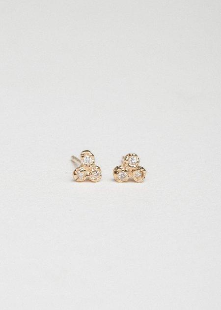 Jerry Grant 3 Diamond Cluster Studs - 14k yellow Gold