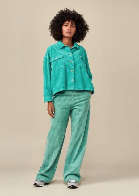 Bellerose Parrish Overshirt - Aqua Corduroy