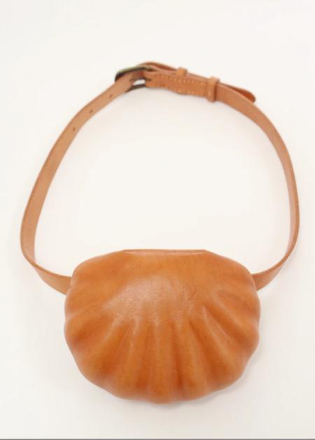 Beklina Leather Shell Belt Bag - Natural