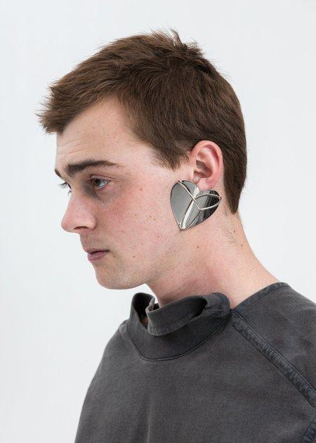 Y/project Shield Y Heart Earrings - Silver