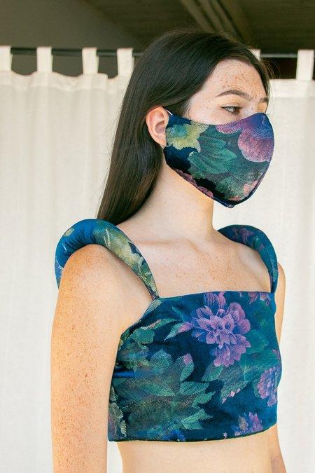 No Wallflower Project Floral Velvet Padded Shoulder Bodice - Teal