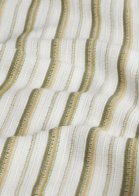 Wax London Didcot Beach Striped Shirt - Khaki/Ecru