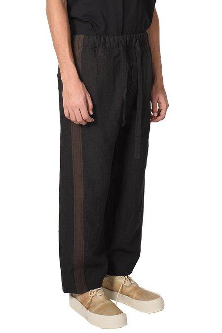 Ziggy Chen Loose Fit Linen Trousers - Black/Brown