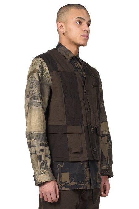 Ziggy Chen Patchwork Jacket - Black/Dark Green
