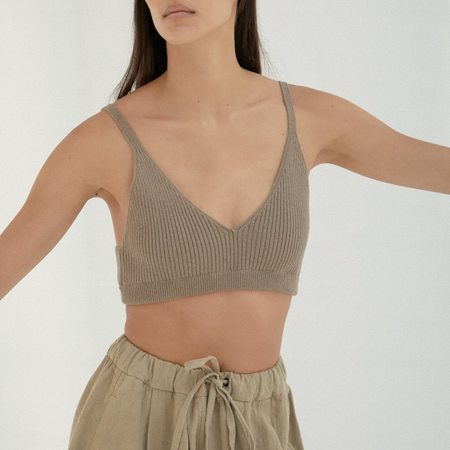 Mónica Cordera Ribbed Knit Top - Taupe