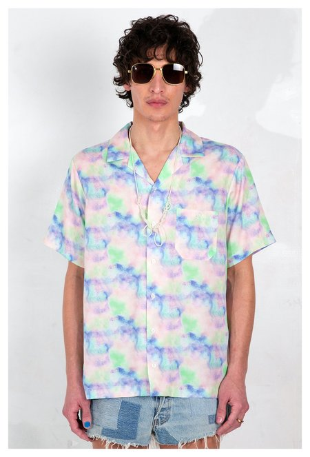 Graphia New York Camp Collar Print Short Sleeve Shirt - Blue Dream Pop