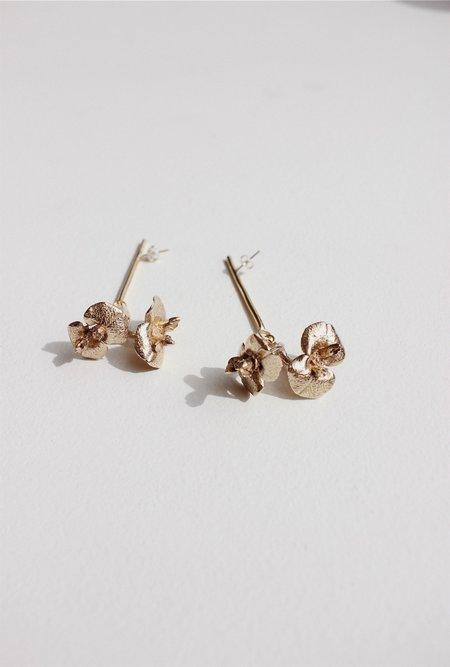 Yu Yu Shiratori Flower Drop Earrings - brass/sterling silver