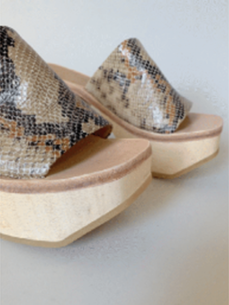 Rachel Comey Wood Clog Sandal - Bone Snake Print
