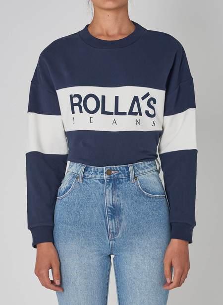 Rollas Split Logo Sweater - Navy