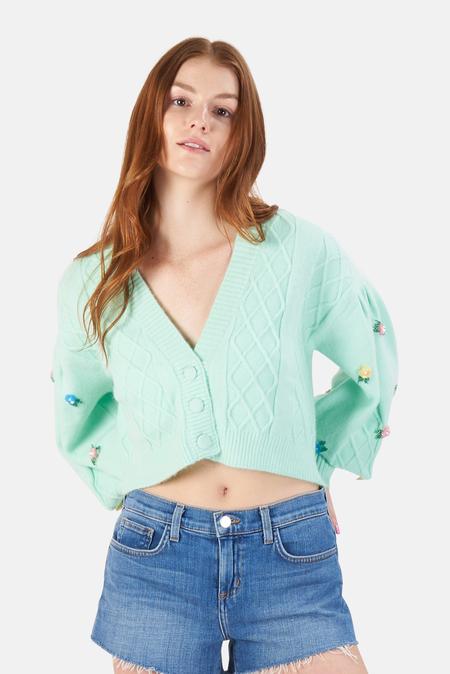 For Love & Lemons Sutton Cardigan Sweater - Mint