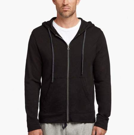 James Perse Men's Vintage Fleece Hoodie in Black
