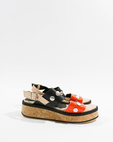 [Pre-loved] Tosone Cork Flatform Sandals - Black/Orange Multi
