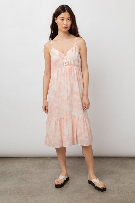 Rails Delilah Tank Midi Dress - peach pink tie dye