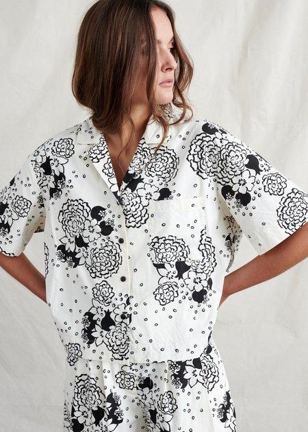 Bellerose Floral Camp Shirt - Cream/Black