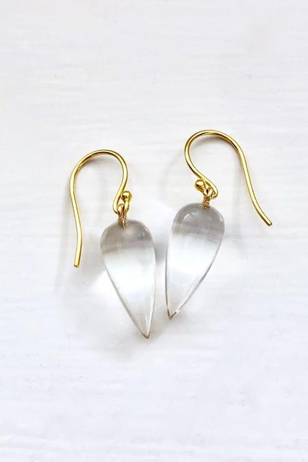 Percent Jewelry Rock Crystal Cabochon drop Earring - Gold