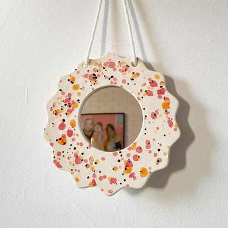 mansi shah Splatter Wall Mirror - Pink/Orange