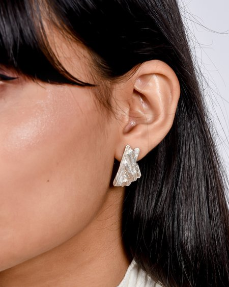 salt grass Slate earrings - silver