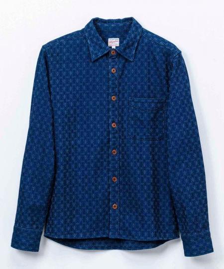 Momotaro Jeans kasuri Sashiko Shirt - Indigo