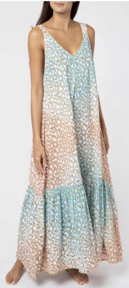 Juliet Dunn Tie Dye V-Neck Maxi Dress - Turquoise/Peach