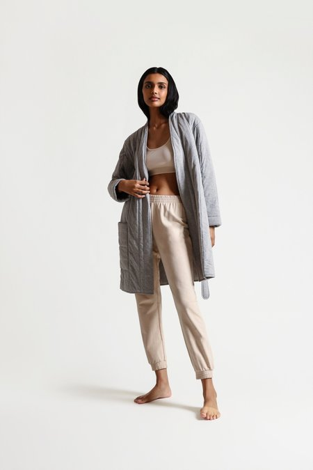 Skin Stormie Short Quilted Robe - Heather Grey