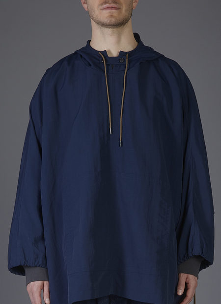 GREI. HOODED PONCHO COAT - MIDNIGHT BLUE
