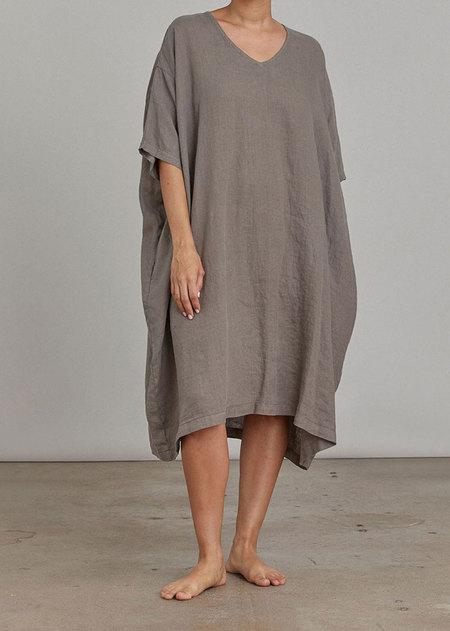 Black Crane V Neck Dress - Gray