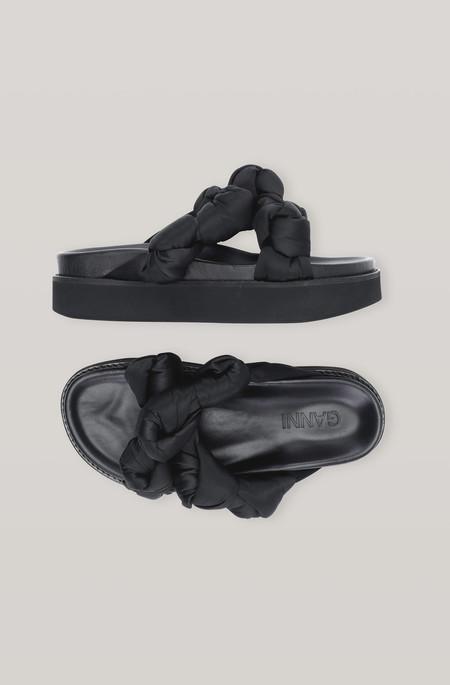 Ganni Knotted Platform Sandal - Black
