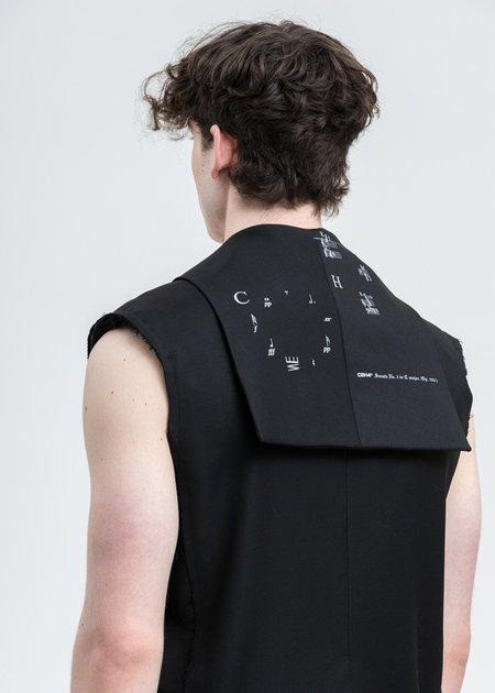 C2H4 Alternate Scarf Variant Tailored Sleeveless Jacket - Black