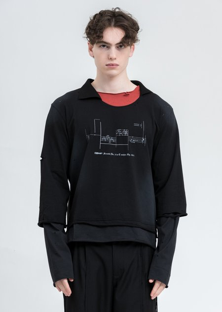 C2H4 Panelled Distressed Double Layer Long Sleeve - Black/Grey