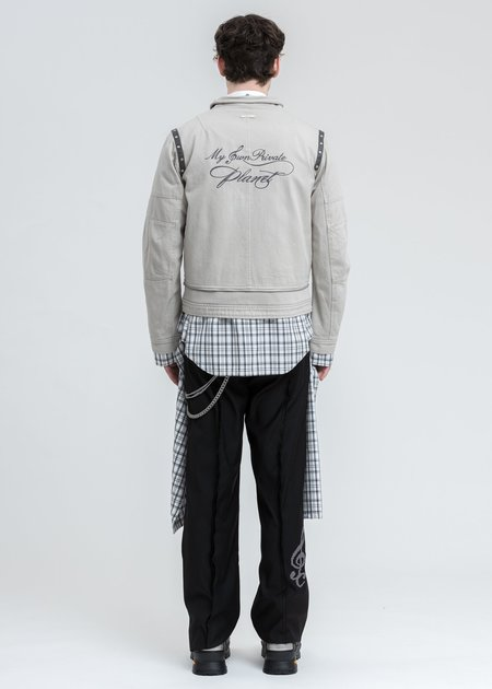 C2H4 Tied Shirt Layered Work Jacket - Grey