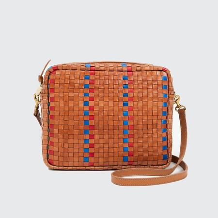 Clare V. Marisol Woven Stripe Checker Bag - Natural